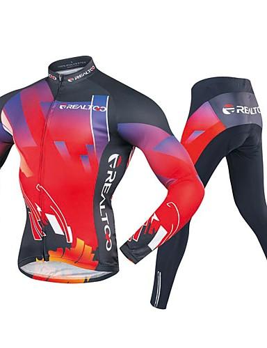 povoljno Odjeća za vožnju biciklom-Realtoo Muškarci Dugih rukava Biciklistička majica s tajicama Crna / crvena Bicikl Sportska odijela Pad 3D Sportski Poliester Spandex Geometrijski oblici Brdski biciklizam biciklom na cesti Odjeća