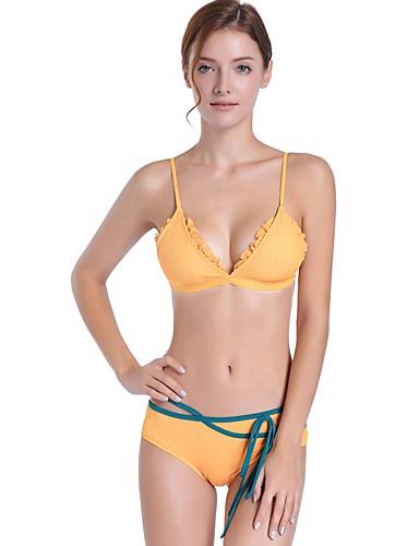 Női Bájos   Alap Pántos   Nyakkivágás Fekete Arcpír rózsaszín Sárga Trokuti  Merész Bikini Fürdőruha - Egyszínű   Csíkos Csokor   Fűzős M L XL   Sexy  6676764 ... c2eb13eee2