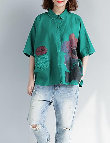 billige T-skjorter til damer-Bomull Løstsittende Skjortekrage T-skjorte Dame - Blomstret Grønn