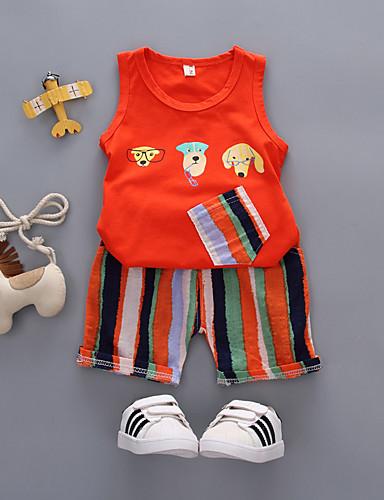 preiswerte Ausverkauf-Kinder Baby Jungen Aktiv Grundlegend Alltag Festtage Gestreift Druck Druck Ärmellos Standard Baumwolle Kleidungs Set Weiß