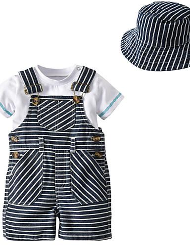 preiswerte Babykleidung-Set-Baby Unisex Grundlegend Alltag Gestreift Kurzarm Standard Kleidungs Set Weiß