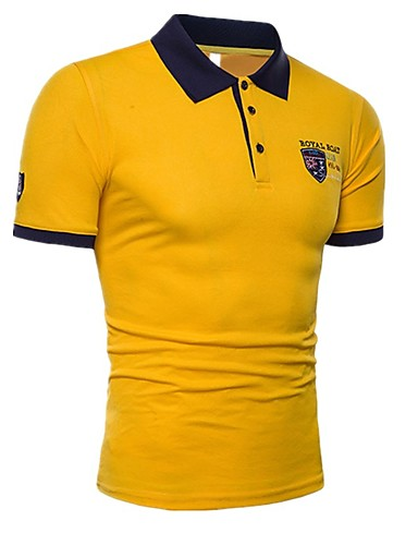 levne Pánská polo trika-Pánské - Barevné bloky Sport Základní Polo, Výšivka Bavlna Košilový límec Bílá / Krátký rukáv