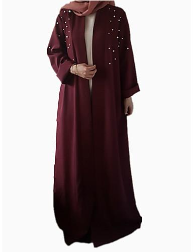 voordelige Maxi-jurken-Dames Werk Vintage Standaard Ruimvallend Abaya Kaftan Jurk - Effen Kleurenblok, Veters Peer Maxi Hoge taille / Hoge taille