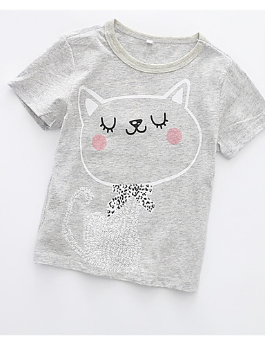 preiswerte Lieben Ihre Kinder Katzen?-Baby Mädchen Aktiv Alltag Katze Geometrisch Druck Kurzarm Standard Baumwolle T-Shirt Grau