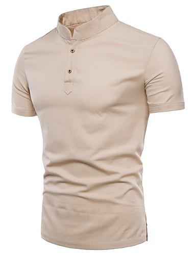 voordelige Heren T-shirts & tanktops-Heren Standaard / Chinoiserie Grote maten - T-shirt Katoen Effen Opstaand Slank Donkergrijs / Korte mouw / Zomer