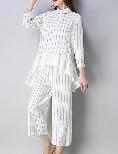 billige Dametopper-Dame Arbeid Gatemote / Sofistikert Store størrelser Sett Bukse - Drapering, Stripet Skjortekrage / Sommer / fin Stripe / Sexy