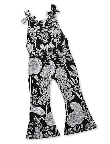 voordelige Uitverkoop-Peuter Meisjes Standaard Dagelijks Uitgaan Zwart grijs Geometrisch Print Blote rug Veters Print Mouwloos Normaal Normaal Katoen Kledingset Zwart / Schattig