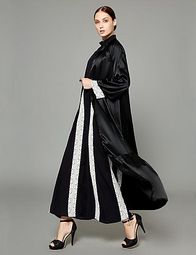 preiswerte Arabische Kleidung-Damen Professionell / Arbeit Street Schick / Anspruchsvoll Herbst Winter Lang Abaya, Solide V-Ausschnitt Langarm Polyester Schwarz XL / XXL / XXXL