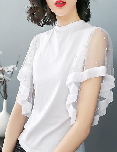 billige Dametopper-Bomull Tynn T-skjorte Dame - Ensfarget Forretning / Grunnleggende Strand