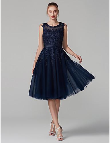 preiswerte Durchsichtige Kleider-A-Linie Illusionsausschnitt Knie-Länge Tüll mit Spitzen-Overlay See Through Cocktailparty / Abiball Kleid mit Perlenstickerei / Applikationen durch TS Couture®