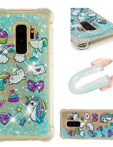 Etui Til Samsung Galaxy S9 / S9 Plus / S8 Plus Støtsikker / Flommende væske / Mønster Bakdeksel enhjørning / Glimtende Glitter Myk TPU