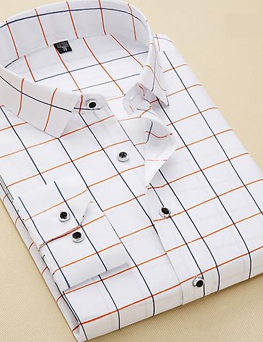 levne Pánské košile-Pánské - Pléd Práce Business / Základní Košile Bílá / Dlouhý rukáv