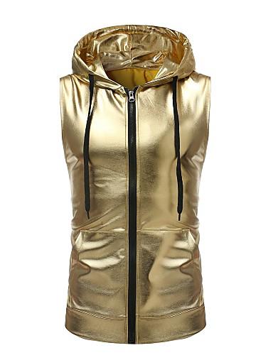 levne Pánská tílka-Pánské - Jednobarevné Základní Bez rukávů Kapuce Zlatá