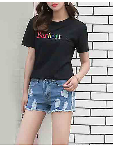 billige T-skjorter til damer-T-skjorte Dame - Bokstaver Hvit