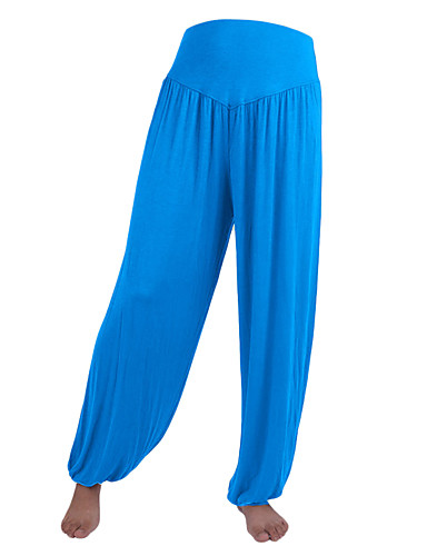 povoljno Vježbanje, fitness i joga-Žene Harem hlače Hlače za jogu Jedna barva Royal Blue Burgundac Modal Spandex Zumba Pilates Plesne ženske sportske hlače Veći konfekcijski brojevi Odjeća za rekreaciju Mala težina Ovlaživanje