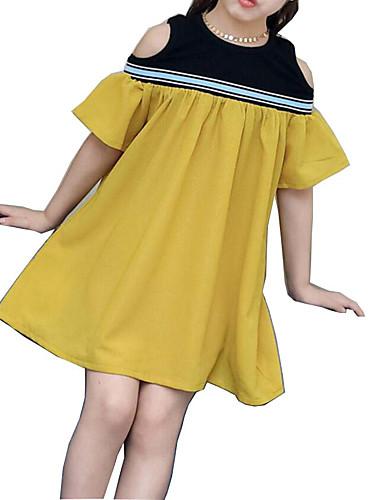 preiswerte Ausverkauf-Kinder Mädchen Grundlegend Alltag Solide Kurzarm Kleid Gelb / Baumwolle