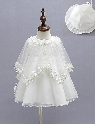 preiswerte Kleider mit Spitze für Mädchen-Baby Mädchen Grundlegend Solide Langarm Baumwolle Kleid Weiß