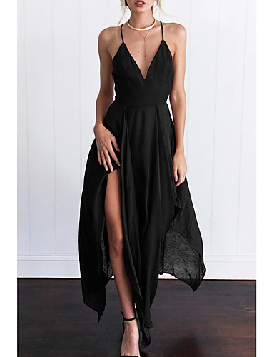 preiswerte Slip-Kleider-Damen Ausgehen Schlank Swing Kleid Solide Maxi Tiefes V Hohe Taillenlinie / Super Sexy