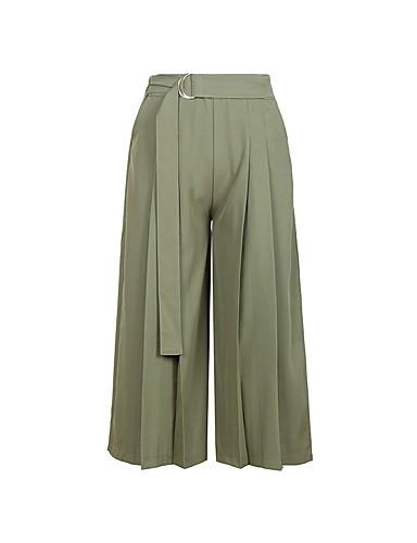 Mujer Algodón Corte Ancho Perneras anchas Pantalones - Un Color Negro    Noche 6755725 2019 –  24.14 1c7a764917ff