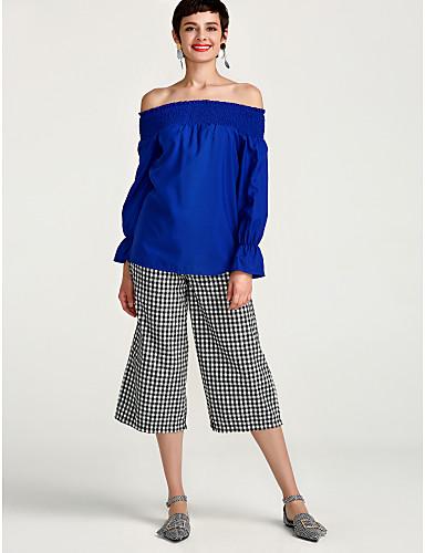 billige Skjorter til damer-Løse skuldre Skjorte Dame - Ensfarget, Drapering Hvit / Vår / Sommer / Sexy