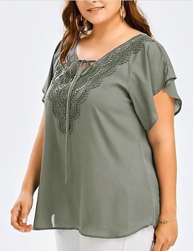 billige Dametopper-Løstsittende V-hals Store størrelser Bluse Dame - Ensfarget, Blonde Grunnleggende Grå
