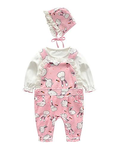 preiswerte Babykleidung-Set-Baby Mädchen Aktiv Alltag Druck Druck Langarm Standard Baumwolle Kleidungs Set Rosa