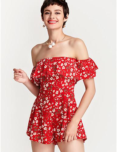 860b9c4845e Women s Off Shoulder Floral Plus Size Daily Off Shoulder Red Romper ...