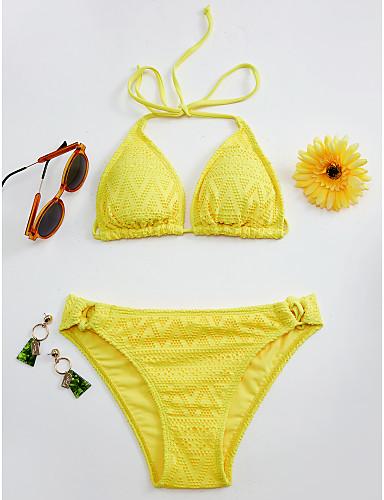 preiswerte Volltonfarbe-Damen Halter Schwarz Rote Gelb Dreieck Tanga-Bikinihose Bikinis Bademode - Solide Spitze M L XL Schwarz
