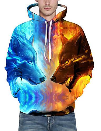 cheap Basic Hoodie Sweatshirts-Men's Plus Size Daily Hoodie 3D Animal Print Hooded Basic Exaggerated Hoodies Sweatshirts  Long Sleeve Loose Blue / Fall