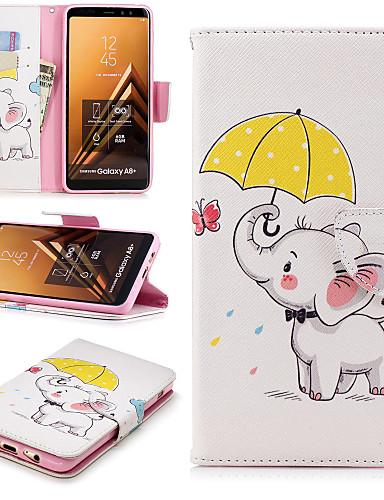 Etui Til Samsung Galaxy A6 (2018) / A6+ (2018) / A5 (2017) Lommebok / Kortholder / med stativ Heldekkende etui Elefant Hard PU Leather