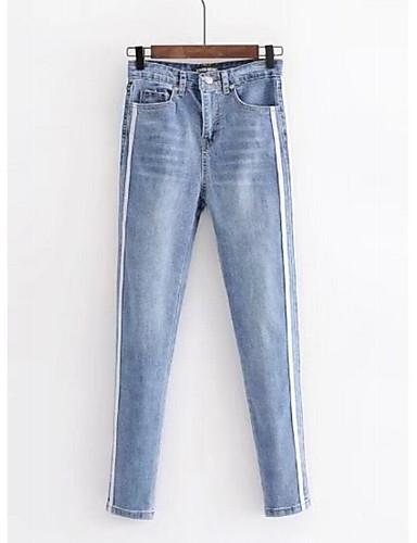 47373b160 Mulheres Básico Algodão Jeans Calças - Estampa Colorida   Feriado de  6718074 2018 por  20.99