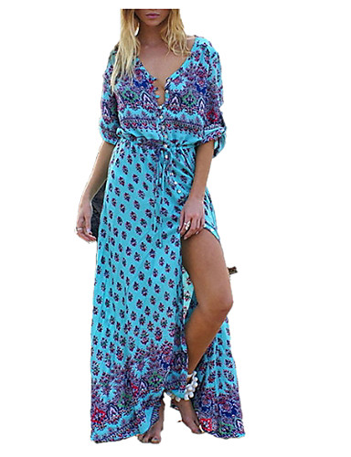 levne Maxi šaty-Dámské Dovolená Cikánský Swing Šaty - Etno, Tisk Maxi Do V