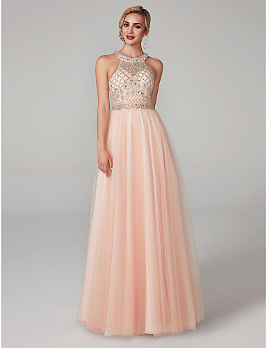 A Line Halter Neck Floor Length Tulle Elegant Luxurious