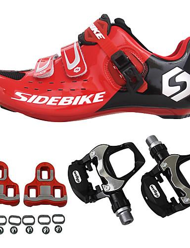 preiswerte Marken Radfahrkleidung-SIDEBIKE Erwachsene Fahrradschuhe mit Pedalen & Pedalplatten Rennradschuhe Karbon Polsterung Radsport Rote Herrn Fahrradschuhe / Atmungsaktive Mesh