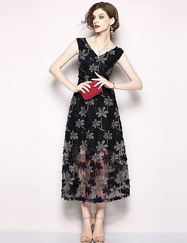 ee5b3a8378667 Kadın's Tatil / Dışarı Çıkma Sokak Şıklığı / sofistike A Şekilli Elbise -  Çiçekli, Örümcek Ağı / Nakış V Yaka Midi Yüksek Bel 6724457 2019 – $70.34