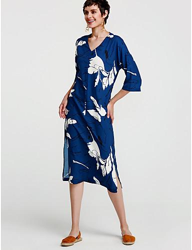 levne Maxi šaty-Dámské Bavlna Tunika Šaty - Květinový, Tisk Mini Do V Modrá / Volné