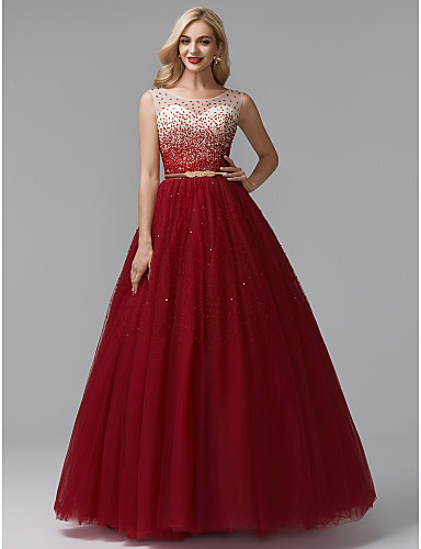 cheap Prom Dresses-Ball Gown Chinese Style Sparkle & Shine Beaded & Sequin Formal Evening Dress Jewel Neck Sleeveless Floor Length Tulle with Beading Sequin 2020