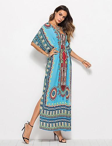 voordelige Maxi-jurken-Dames Strand Vintage Boho Vleermuismouw Ruimvallend Recht Jurk Split V-hals Maxi Hoge taille / Hoge taille