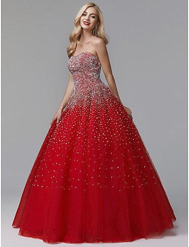 cheap Special Occasion Dresses-Ball Gown Luxurious Quinceanera Formal Evening Dress Strapless Sleeveless Floor Length Satin Tulle with Crystals 2020