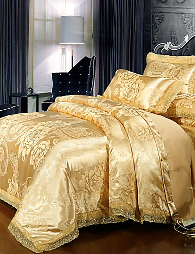 cheap Bedding Sets-Duvet Cover Sets Luxury Polyster Printed & Jacquard 4 PieceBedding Sets / 300 / 4pcs (1 Duvet Cover, 1 Flat Sheet, 2 Shams)