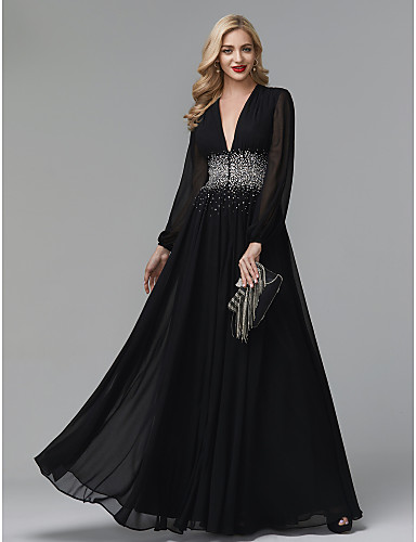 cheap Evening Dresses-A-Line Celebrity Style Empire Wedding Guest Formal Evening Dress V Neck Long Sleeve Floor Length Chiffon with Crystals 2020