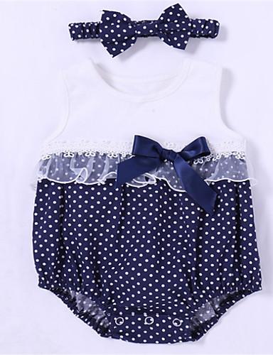 preiswerte Schleifen-Mädchenkleidung-Baby Mädchen Grundlegend Solide Ärmellos Einzelteil Weiß