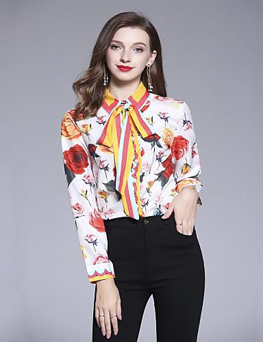 billige Dametopper-Skjortekrage Skjorte Dame - Blomstret, Trykt mønster Grunnleggende