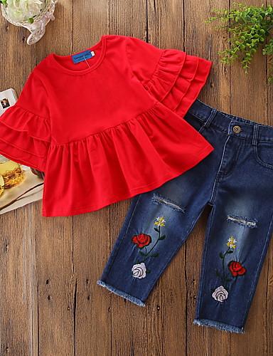 preiswerte Babykleidung-Set-Baby Mädchen Aktiv / Grundlegend Alltag / Festtage Solide Rüsche Halbe Ärmel Standard Kleidungs Set Rote