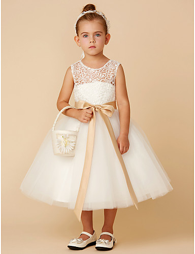 0c0a7daa3a6 Princess Tea Length Flower Girl Dress - Lace   Tulle Sleeveless Jewel ...