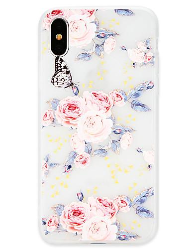 Etui Til Apple iPhone X / iPhone 8 Plus / iPhone 8 Ultratynn Bakdeksel Sommerfugl / Blomsternål i krystall Myk TPU