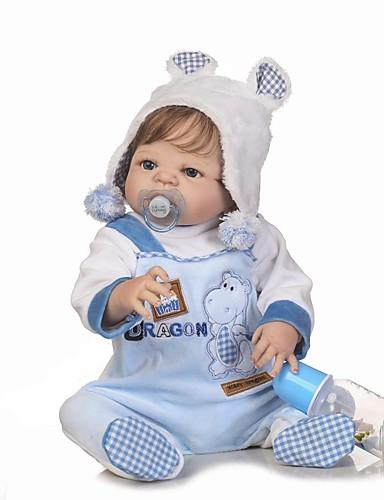 preiswerte Spielzeug & Hobby Artikel-NPKCOLLECTION NPK-PUPPE Lebensechte Puppe Baby Jungen 24 Zoll Ganzkörper Silikon Silikon Vinyl - lebensecht Geschenk Kindersicherung Non Toxic Künstliche Implantation Blaue Augen Natürlicher Hautton