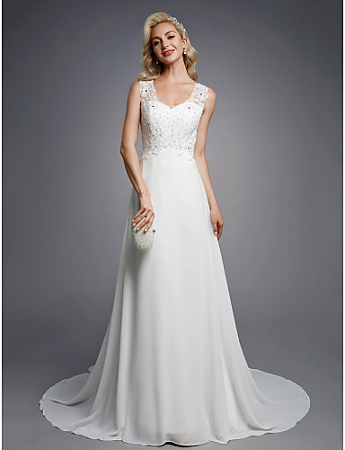 cheap Clearance-A-Line Wedding Dresses V Neck Floor Length Chiffon Lace Regular Straps Sexy with Beading Appliques Button 2020