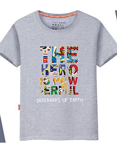 preiswerte Oberteile-Herrn Solide / Regenbogen / Buchstabe - Grundlegend T-shirt, Rundhalsausschnitt Schwarz / Kurzarm