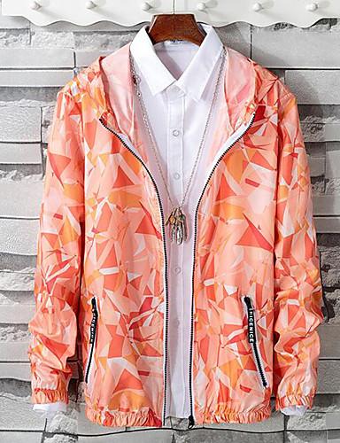 levne Pánská saka a kabáty-Pánské Denní Jaro léto Standardní Bunda, Geometrický Kapuce Dlouhý rukáv Polyester Oranžová / Světlá růžová / Světle zelená